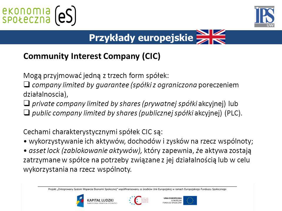 Community Interest Company (CIC) Mogą przyjmować jedną z trzech form spółek:  company limited by guarantee (spółki z ograniczona poreczeniem działaln