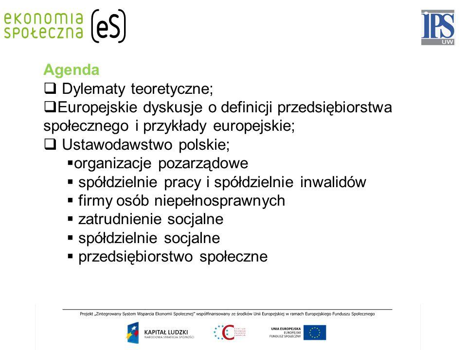 Agenda  Dylematy teoretyczne;  Europejskie dyskusje o definicji przedsiębiorstwa społecznego i przykłady europejskie;  Ustawodawstwo polskie;  org