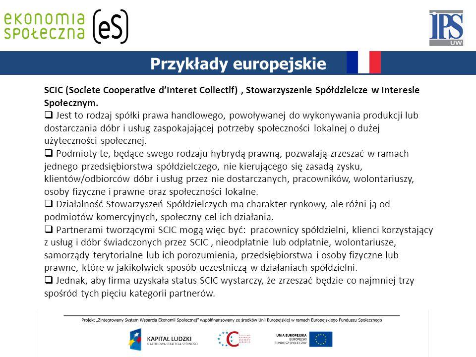 PODSTAWY PRAWNE Przykłady europejskie SCIC (Societe Cooperative d'Interet Collectif), Stowarzyszenie Spółdzielcze w Interesie Społecznym.  Jest to ro
