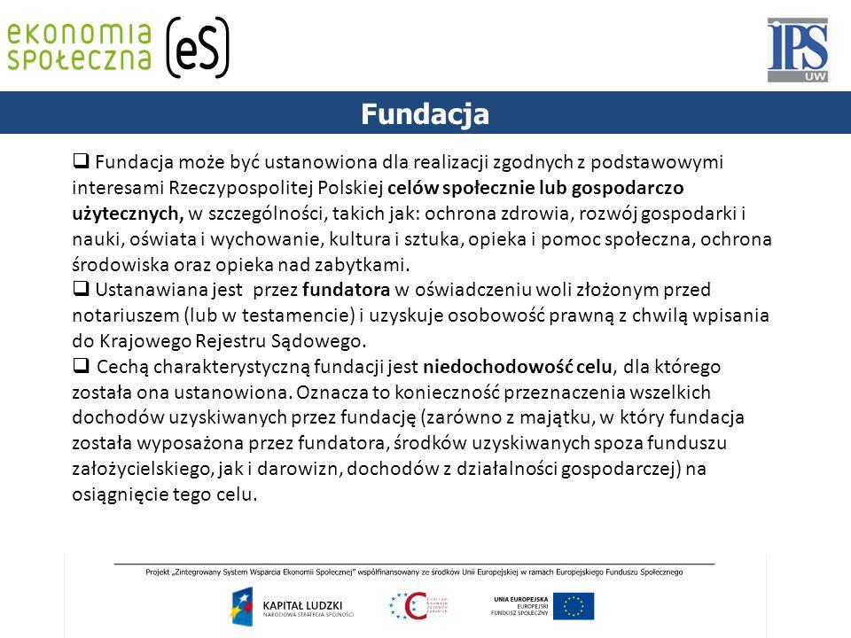 PODSTAWY PRAWNE Fundacja  Fundacja może być ustanowiona dla realizacji zgodnych z podstawowymi interesami Rzeczypospolitej Polskiej celów społecznie