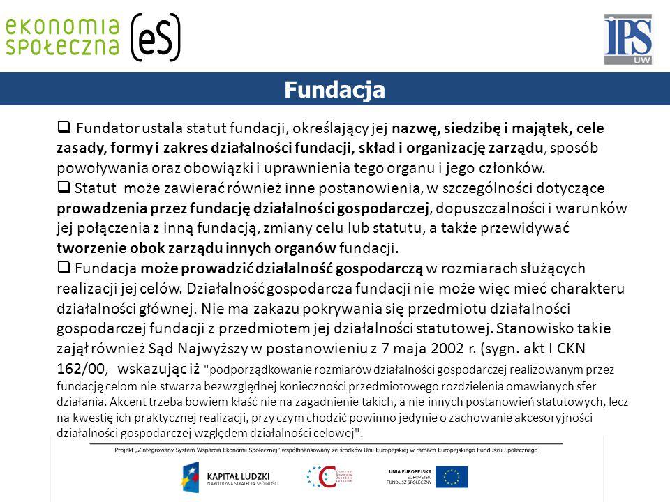 PODSTAWY PRAWNE Fundacja  Fundator ustala statut fundacji, określający jej nazwę, siedzibę i majątek, cele zasady, formy i zakres działalności fundac