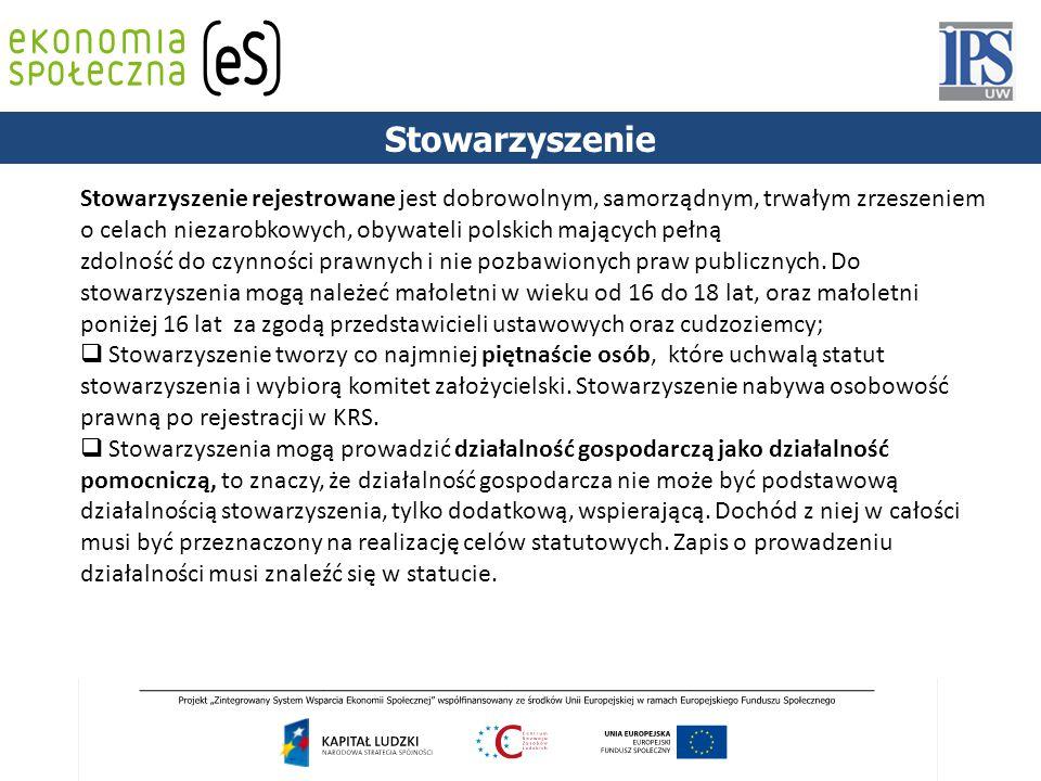 PODSTAWY PRAWNE Stowarzyszenie Stowarzyszenie rejestrowane jest dobrowolnym, samorządnym, trwałym zrzeszeniem o celach niezarobkowych, obywateli polsk