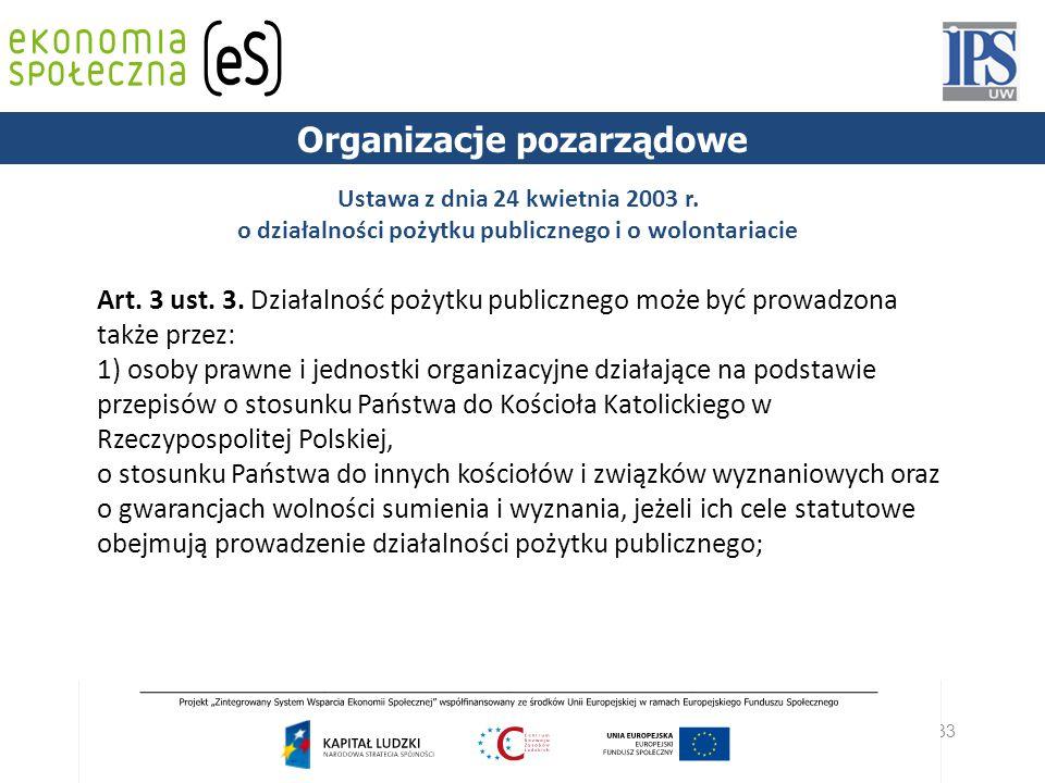 33 PODSTAWY PRAWNE Ustawa z dnia 24 kwietnia 2003 r. o działalności pożytku publicznego i o wolontariacie Art. 3 ust. 3. Działalność pożytku publiczne