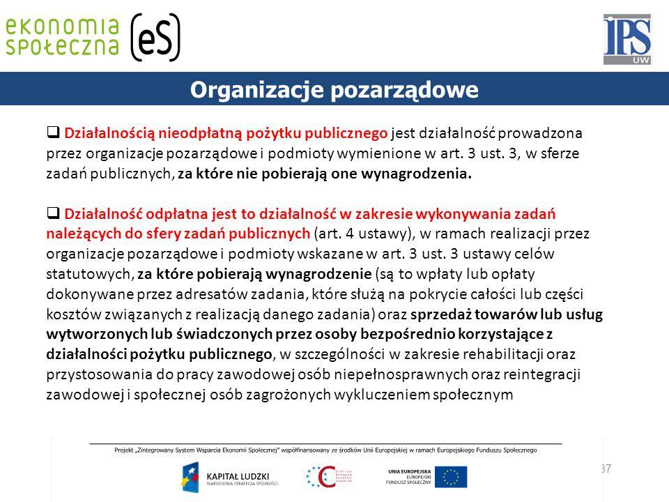 37 PODSTAWY PRAWNE  Działalnością nieodpłatną pożytku publicznego jest działalność prowadzona przez organizacje pozarządowe i podmioty wymienione w a