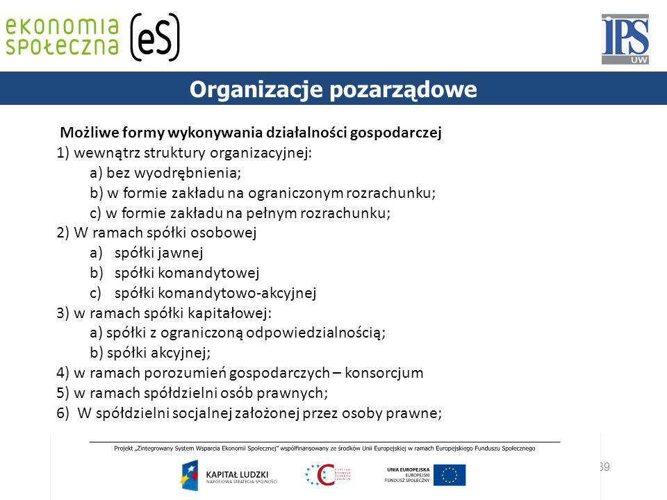 39 PODSTAWY PRAWNE Możliwe formy wykonywania działalności gospodarczej 1) wewnątrz struktury organizacyjnej: a) bez wyodrębnienia; b) w formie zakładu