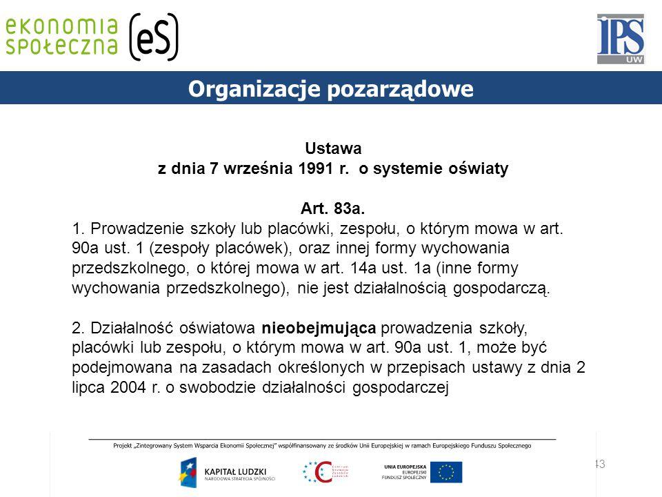 43 PODSTAWY PRAWNE Organizacje pozarządowe Ustawa z dnia 7 września 1991 r. o systemie oświaty Art. 83a. 1. Prowadzenie szkoły lub placówki, zespołu,
