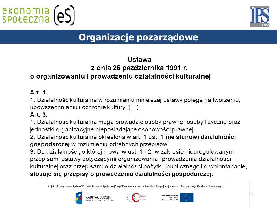 44 PODSTAWY PRAWNE Organizacje pozarządowe Ustawa z dnia 25 października 1991 r. o organizowaniu i prowadzeniu działalności kulturalnej Art. 1. 1. Dzi
