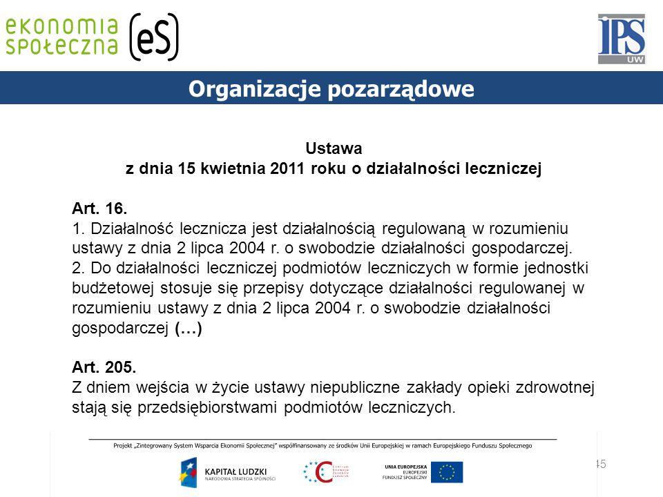 45 PODSTAWY PRAWNE Organizacje pozarządowe Ustawa z dnia 15 kwietnia 2011 roku o działalności leczniczej Art. 16. 1. Działalność lecznicza jest działa