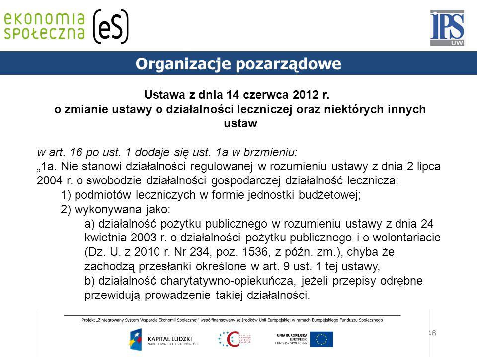 46 PODSTAWY PRAWNE Organizacje pozarządowe Ustawa z dnia 14 czerwca 2012 r. o zmianie ustawy o działalności leczniczej oraz niektórych innych ustaw w