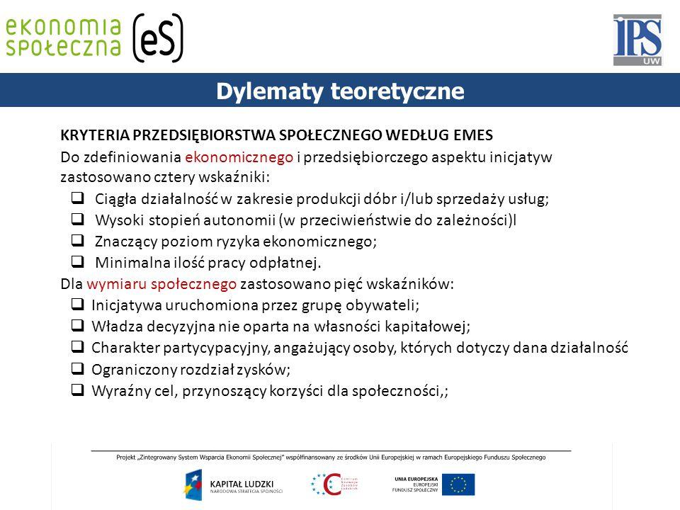 KRYTERIA PRZEDSIĘBIORSTWA SPOŁECZNEGO WEDŁUG EMES Do zdefiniowania ekonomicznego i przedsiębiorczego aspektu inicjatyw zastosowano cztery wskaźniki: 