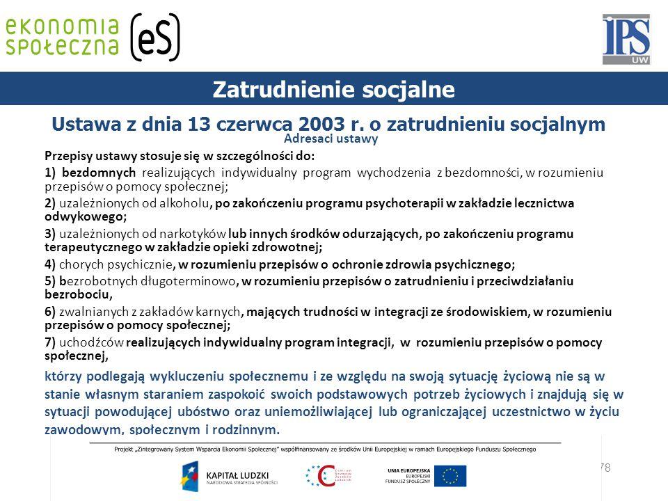 78 Ustawa z dnia 13 czerwca 2003 r. o zatrudnieniu socjalnym Adresaci ustawy Przepisy ustawy stosuje się w szczególności do: 1) bezdomnych realizujący