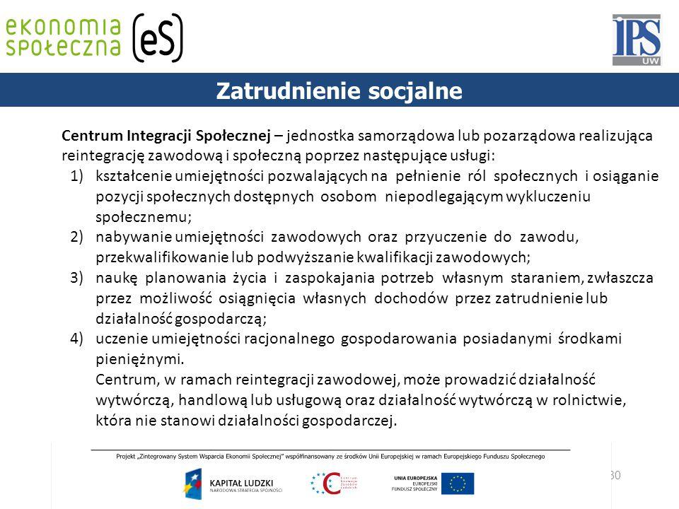 80 Centrum Integracji Społecznej – jednostka samorządowa lub pozarządowa realizująca reintegrację zawodową i społeczną poprzez następujące usługi: 1)
