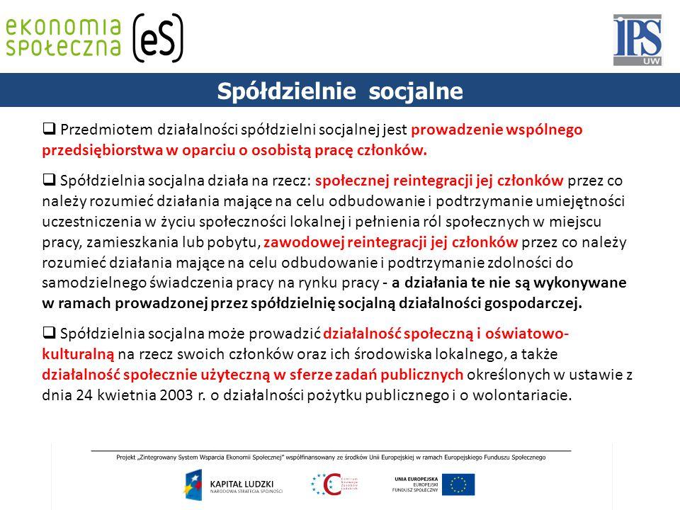 PODSTAWY PRAWNE  Przedmiotem działalności spółdzielni socjalnej jest prowadzenie wspólnego przedsiębiorstwa w oparciu o osobistą pracę członków.  Sp