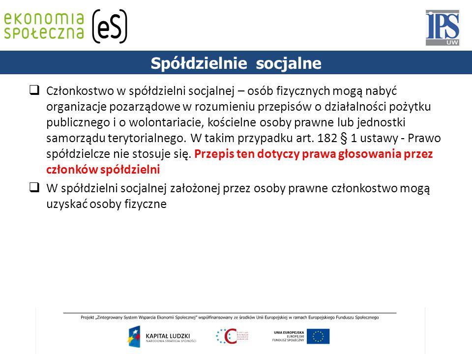 PODSTAWY PRAWNE Spółdzielnie socjalne  Członkostwo w spółdzielni socjalnej – osób fizycznych mogą nabyć organizacje pozarządowe w rozumieniu przepisó