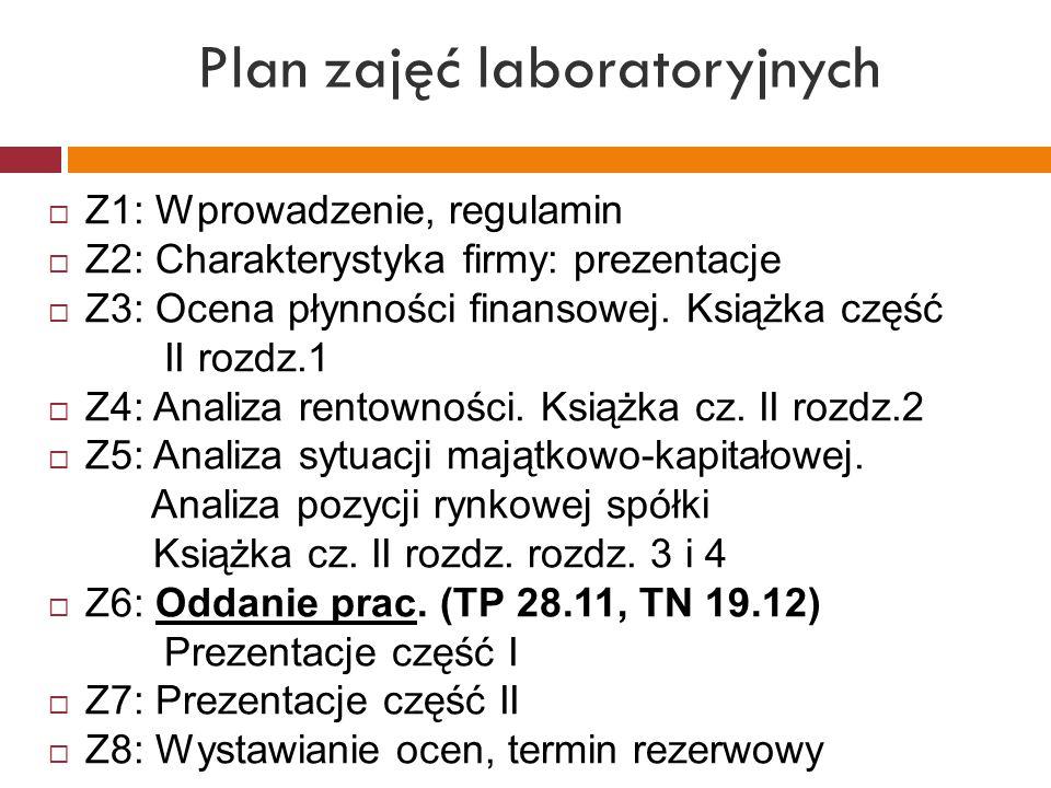 Plan zajęć laboratoryjnych  Z1: Wprowadzenie, regulamin  Z2: Charakterystyka firmy: prezentacje  Z3: Ocena płynności finansowej. Książka część II r