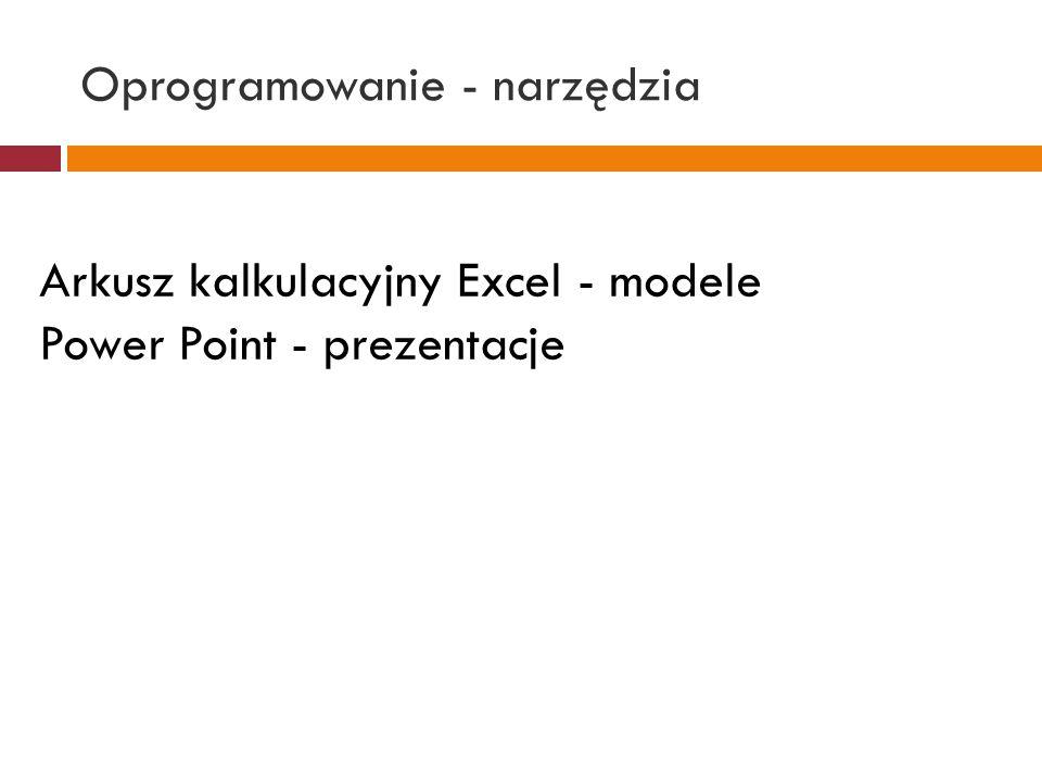 Oprogramowanie - narzędzia Arkusz kalkulacyjny Excel - modele Power Point - prezentacje