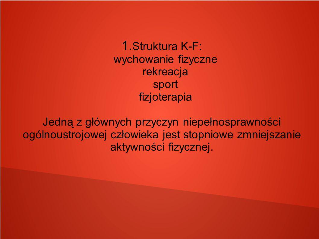 1. Struktura K-F: wychowanie fizyczne rekreacja sport fizjoterapia Jedną z głównych przyczyn niepełnosprawności ogólnoustrojowej człowieka jest stopni