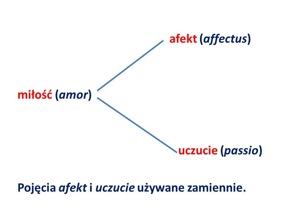 afekt (affectus) miłość (amor) uczucie (passio) Pojęcia afekt i uczucie używane zamiennie.