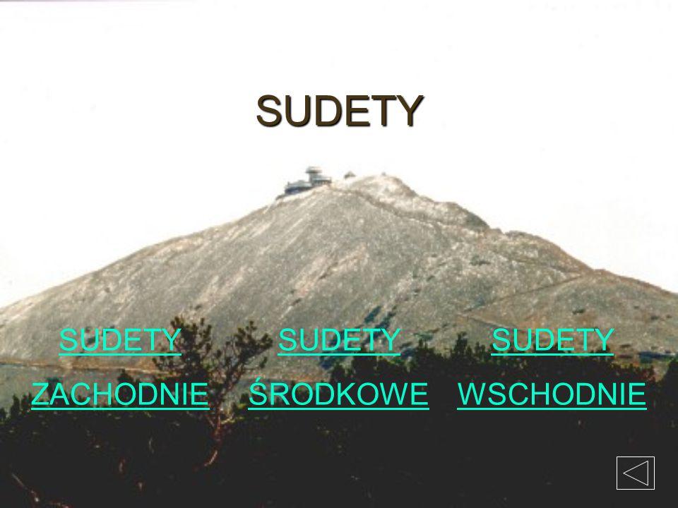SUDETY SUDETY ZACHODNIE SUDETY ŚRODKOWE SUDETY WSCHODNIE