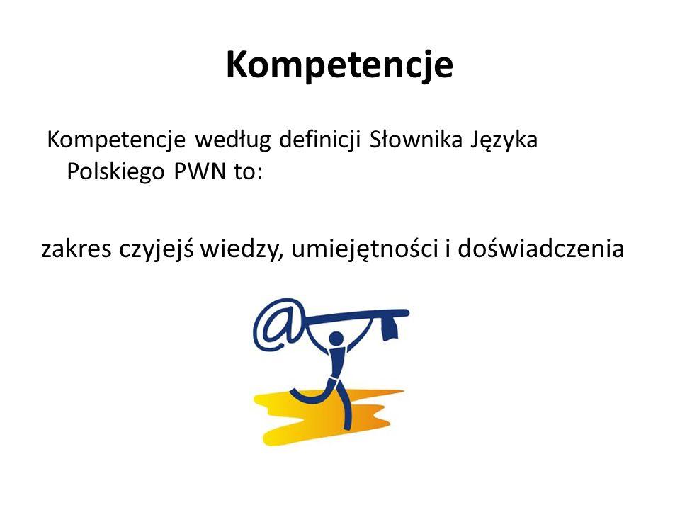 Kompetencje Kompetencje według definicji Słownika Języka Polskiego PWN to: zakres czyjejś wiedzy, umiejętności i doświadczenia