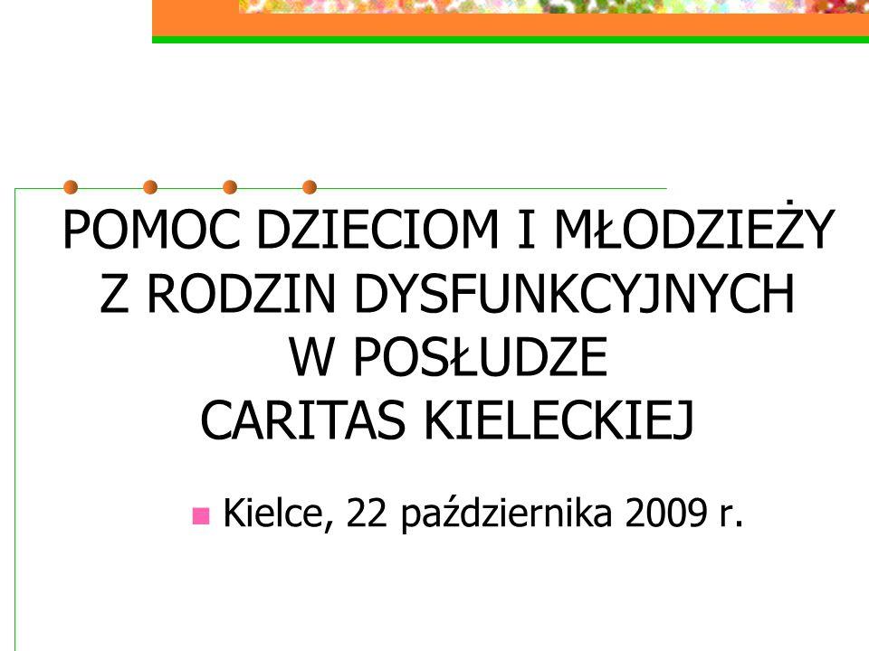 Kielce, 22 października 2009 r. POMOC DZIECIOM I MŁODZIEŻY Z RODZIN DYSFUNKCYJNYCH W POSŁUDZE CARITAS KIELECKIEJ
