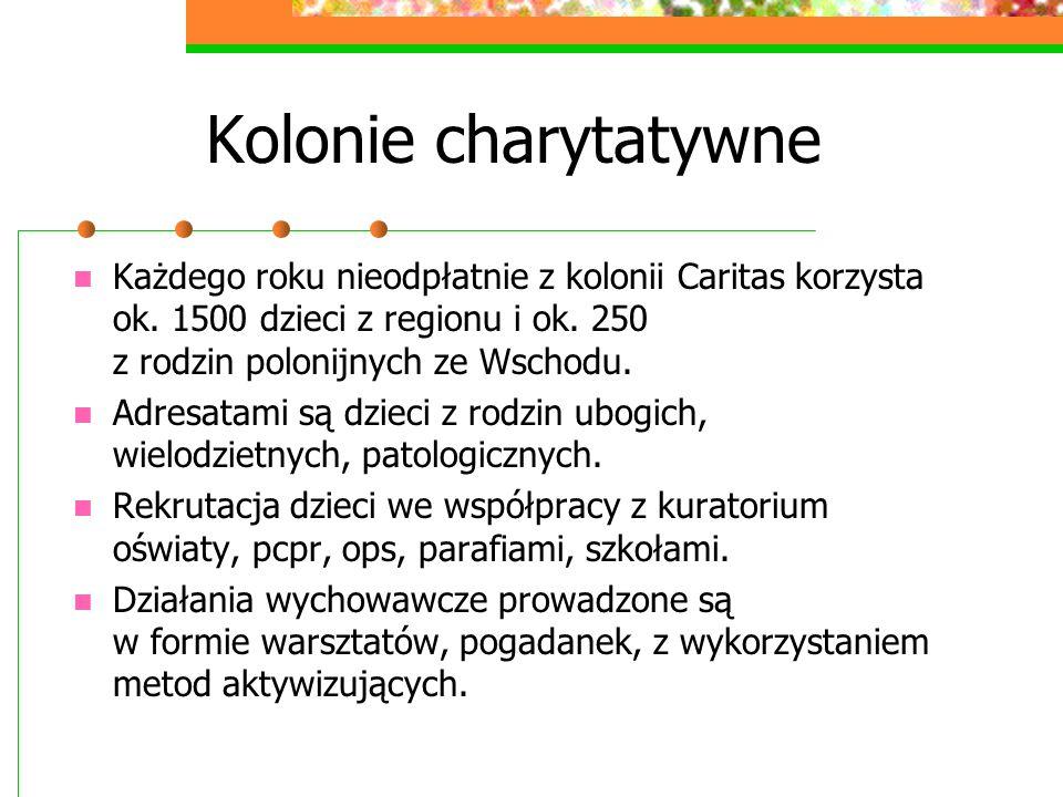 Kolonie charytatywne Każdego roku nieodpłatnie z kolonii Caritas korzysta ok. 1500 dzieci z regionu i ok. 250 z rodzin polonijnych ze Wschodu. Adresat