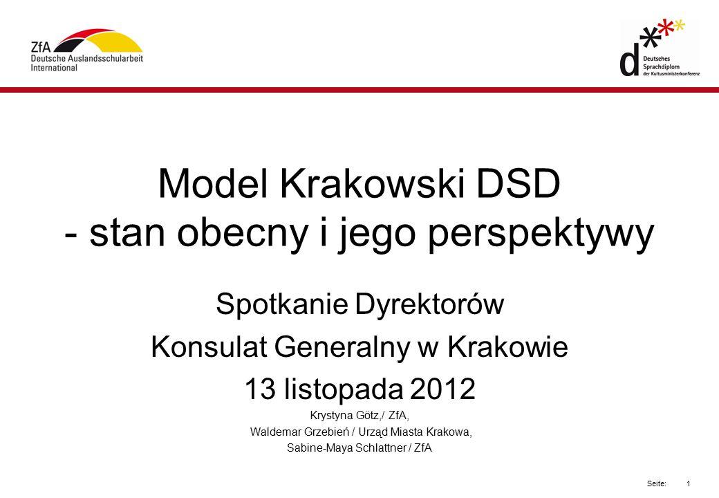 1 Seite: Model Krakowski DSD - stan obecny i jego perspektywy Spotkanie Dyrektorów Konsulat Generalny w Krakowie 13 listopada 2012 Krystyna Götz,/ ZfA