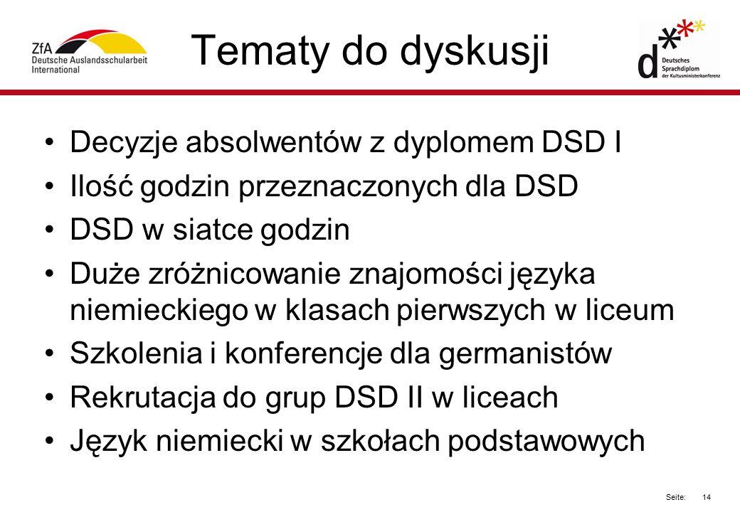 14 Seite: Tematy do dyskusji Decyzje absolwentów z dyplomem DSD I Ilość godzin przeznaczonych dla DSD DSD w siatce godzin Duże zróżnicowanie znajomośc