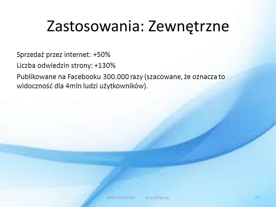 Zastosowania: Zewnętrzne Sprzedaż przez internet: +50% Liczba odwiedzin strony: +130% Publikowane na Facebooku 300.000 razy (szacowane, że oznacza to