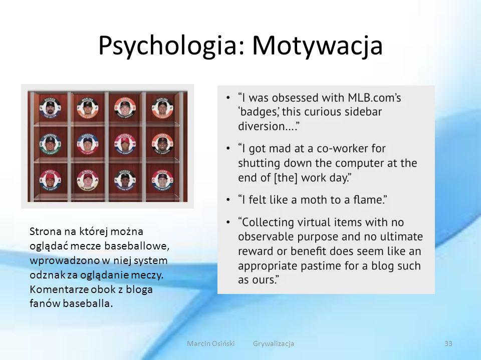 Psychologia: Motywacja Strona na której można oglądać mecze baseballowe, wprowadzono w niej system odznak za oglądanie meczy. Komentarze obok z bloga