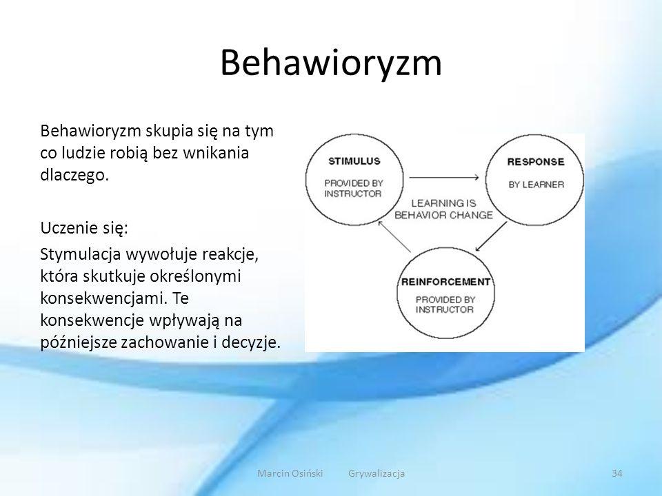 Behawioryzm Behawioryzm skupia się na tym co ludzie robią bez wnikania dlaczego. Uczenie się: Stymulacja wywołuje reakcje, która skutkuje określonymi