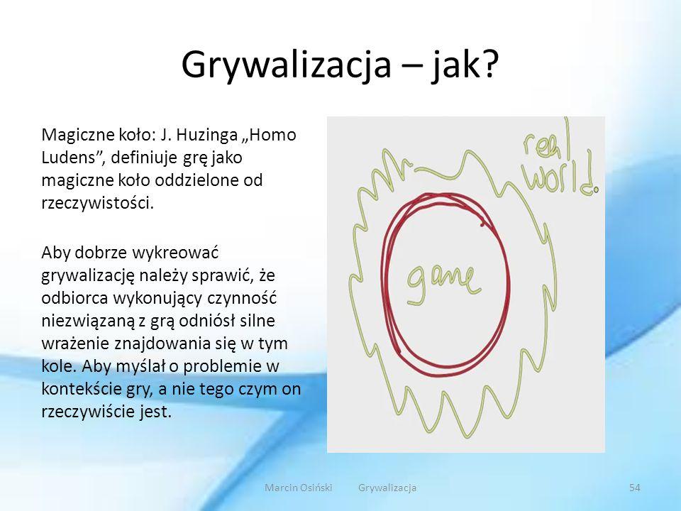 """Grywalizacja – jak? Magiczne koło: J. Huzinga """"Homo Ludens"""", definiuje grę jako magiczne koło oddzielone od rzeczywistości. Aby dobrze wykreować grywa"""