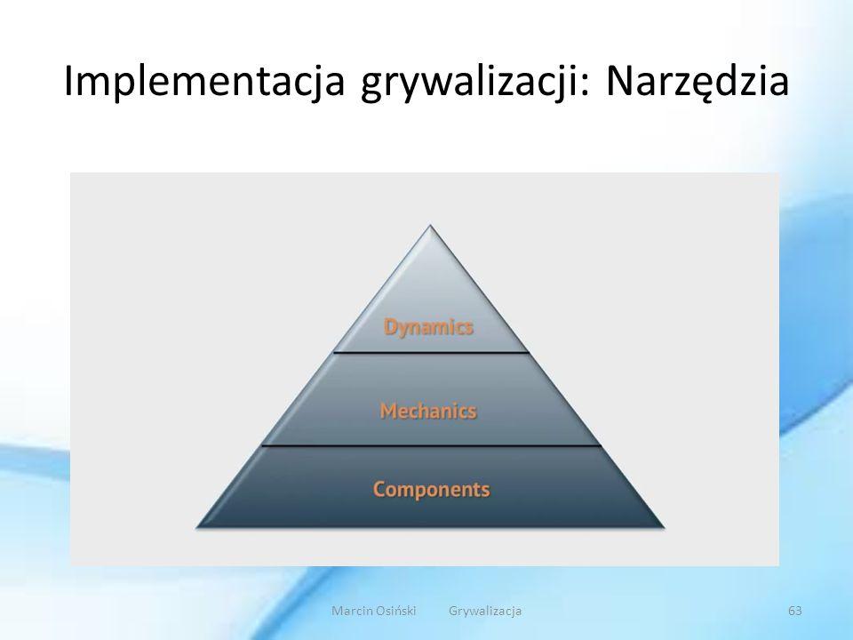 Implementacja grywalizacji: Narzędzia Marcin Osiński Grywalizacja63