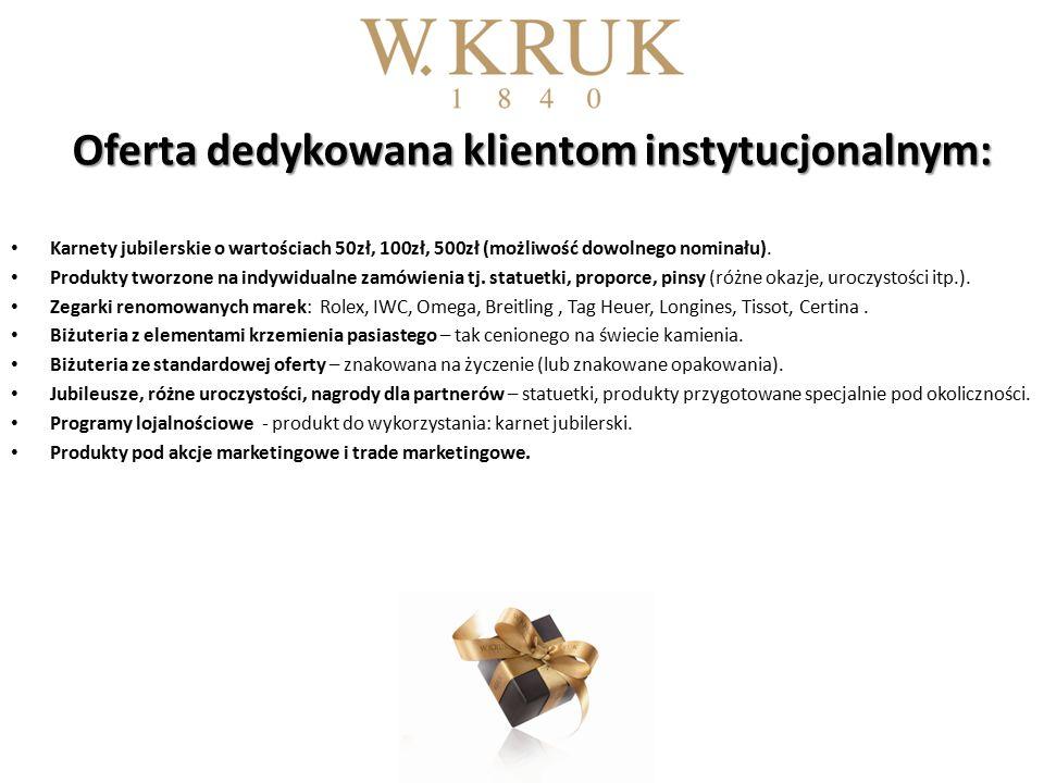 Oferta dedykowana klientom instytucjonalnym: Karnety jubilerskie o wartościach 50zł, 100zł, 500zł (możliwość dowolnego nominału).