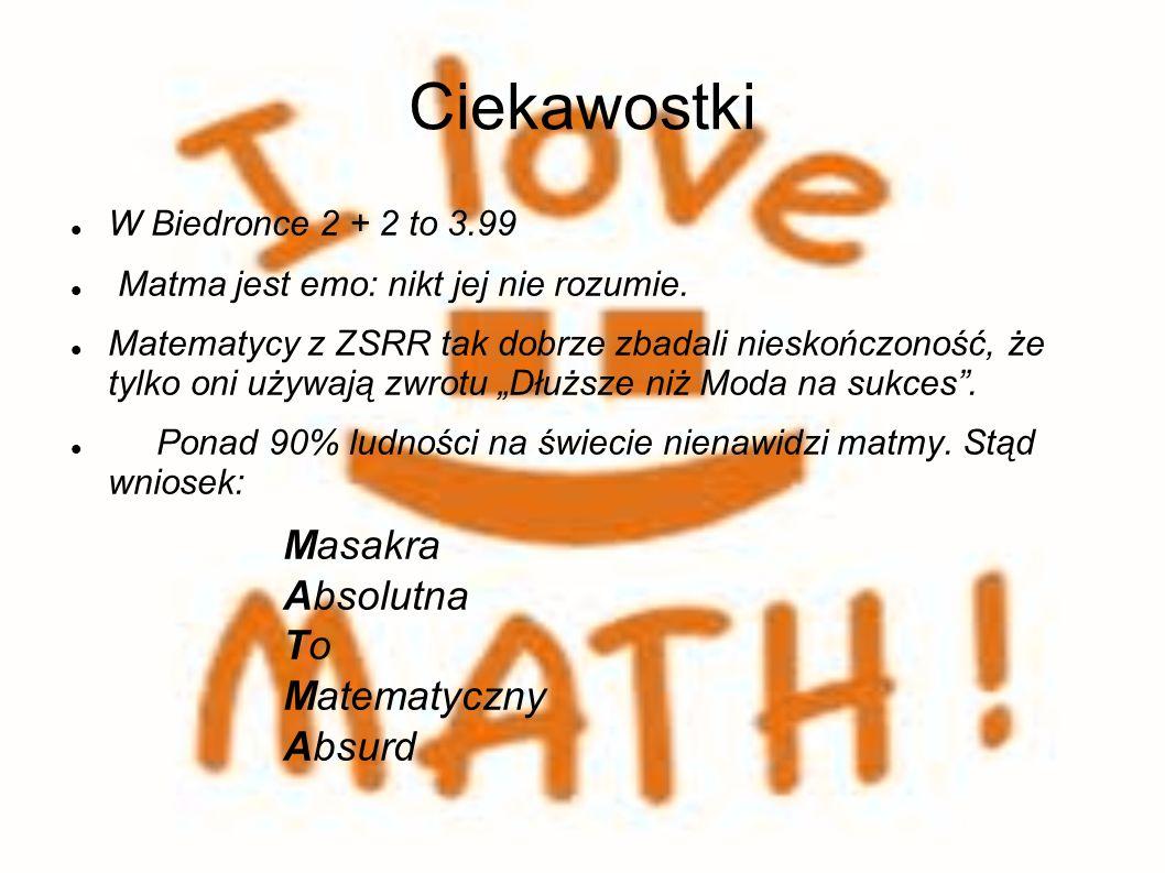 Ciekawostki W Biedronce 2 + 2 to 3.99 Matma jest emo: nikt jej nie rozumie.