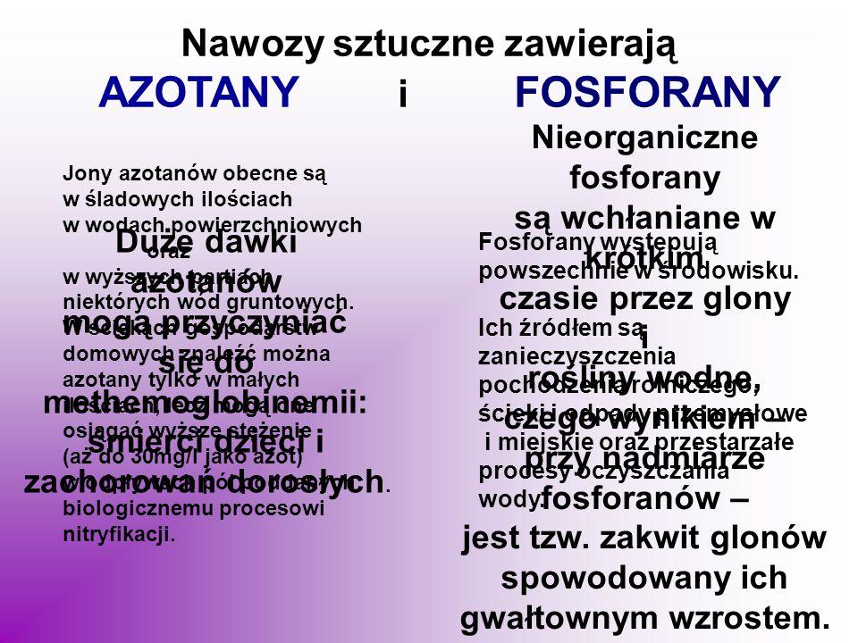 Nawozy sztuczne zawierają AZOTANY i FOSFORANY Jony azotanów obecne są w śladowych ilościach w wodach powierzchniowych oraz w wyższych partiach niektór