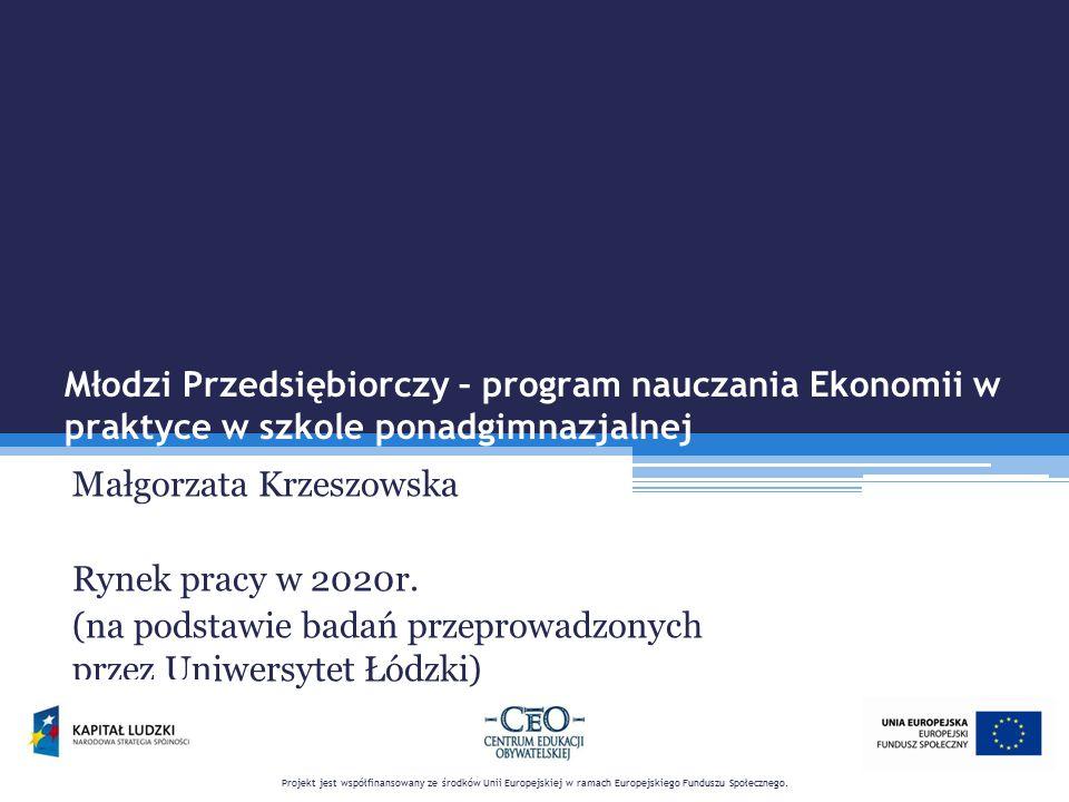 Młodzi Przedsiębiorczy – program nauczania Ekonomii w praktyce w szkole ponadgimnazjalnej Małgorzata Krzeszowska Rynek pracy w 2020r. (na podstawie ba