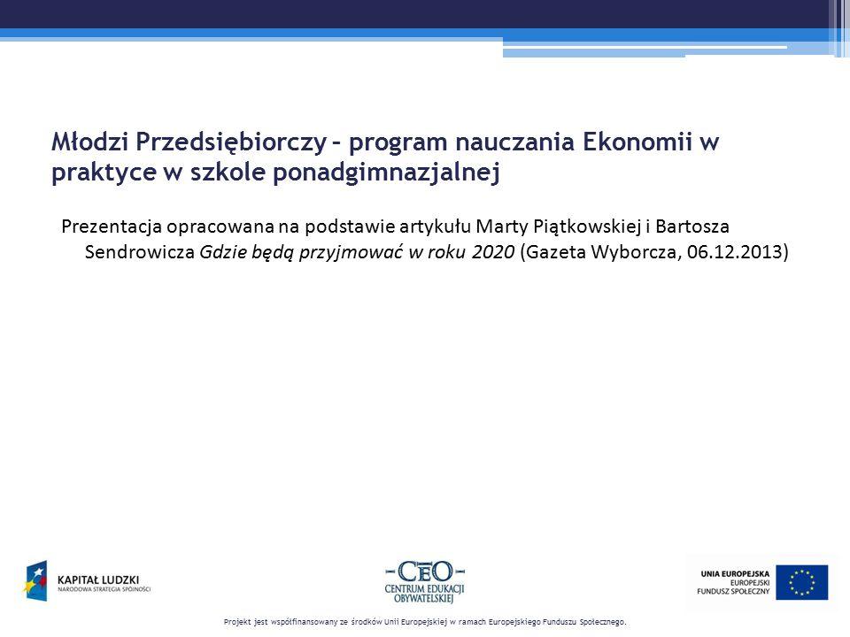 Młodzi Przedsiębiorczy – program nauczania Ekonomii w praktyce w szkole ponadgimnazjalnej Prezentacja opracowana na podstawie artykułu Marty Piątkowsk