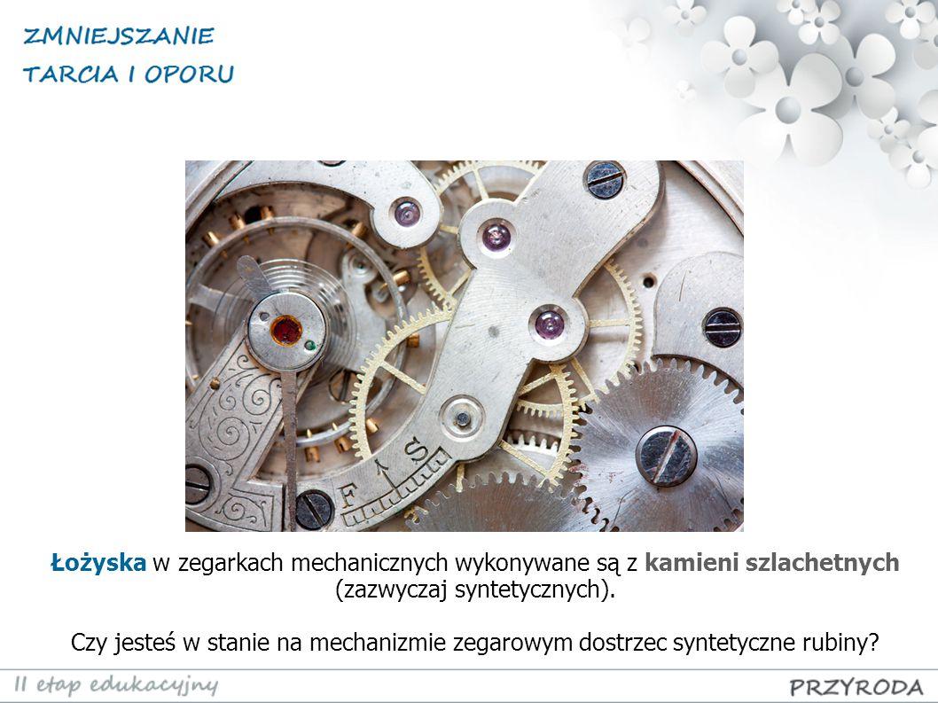Łożyska w zegarkach mechanicznych wykonywane są z kamieni szlachetnych (zazwyczaj syntetycznych). Czy jesteś w stanie na mechanizmie zegarowym dostrze