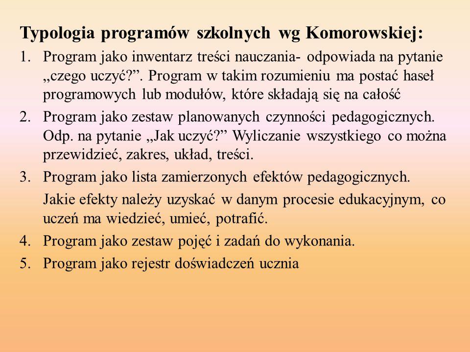 """Typologia programów szkolnych wg Komorowskiej: 1.Program jako inwentarz treści nauczania- odpowiada na pytanie """"czego uczyć?"""". Program w takim rozumie"""
