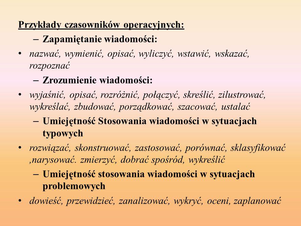 Przykłady czasowników operacyjnych: – Zapamiętanie wiadomości: nazwać, wymienić, opisać, wyliczyć, wstawić, wskazać, rozpoznać – Zrozumienie wiadomośc