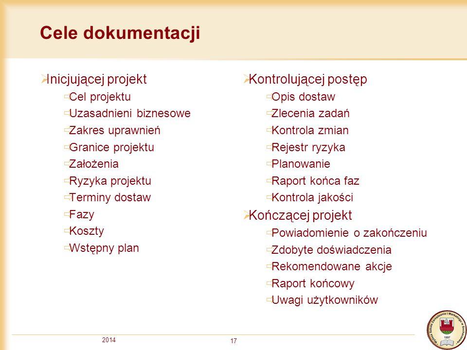 2014 17 Cele dokumentacji  Inicjującej projekt  Cel projektu  Uzasadnieni biznesowe  Zakres uprawnień  Granice projektu  Założenia  Ryzyka proj