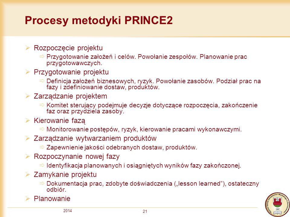 2014 21 Procesy metodyki PRINCE2  Rozpoczęcie projektu  Przygotowanie założeń i celów. Powołanie zespołów. Planowanie prac przygotowawczych.  Przyg