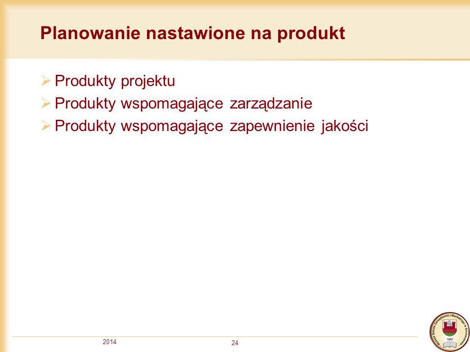 2014 24 Planowanie nastawione na produkt  Produkty projektu  Produkty wspomagające zarządzanie  Produkty wspomagające zapewnienie jakości