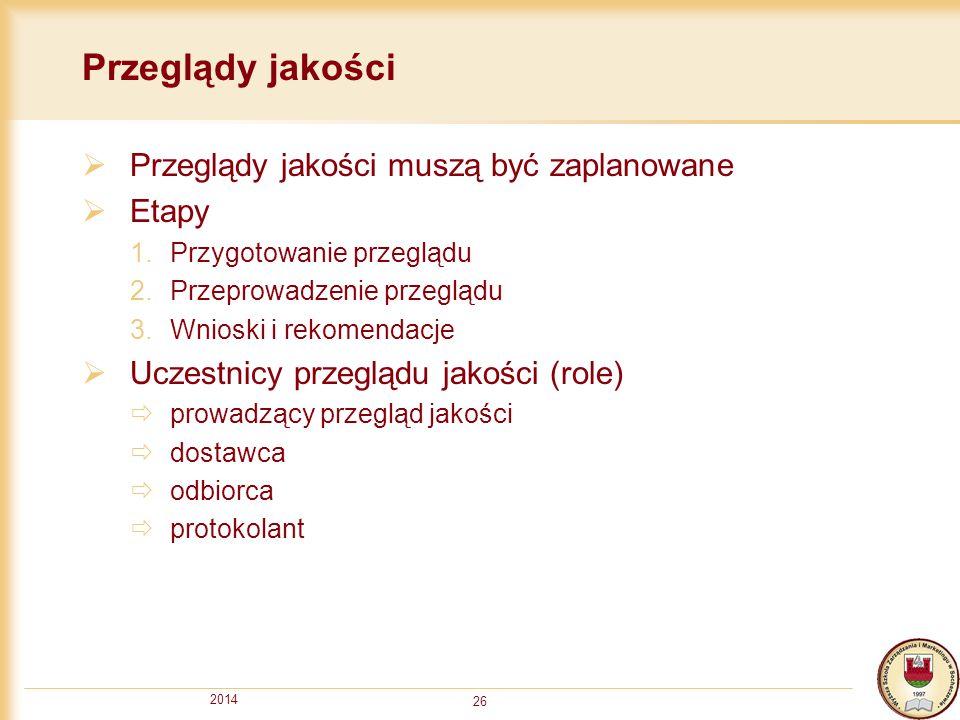 2014 26 Przeglądy jakości  Przeglądy jakości muszą być zaplanowane  Etapy 1.Przygotowanie przeglądu 2.Przeprowadzenie przeglądu 3.Wnioski i rekomend