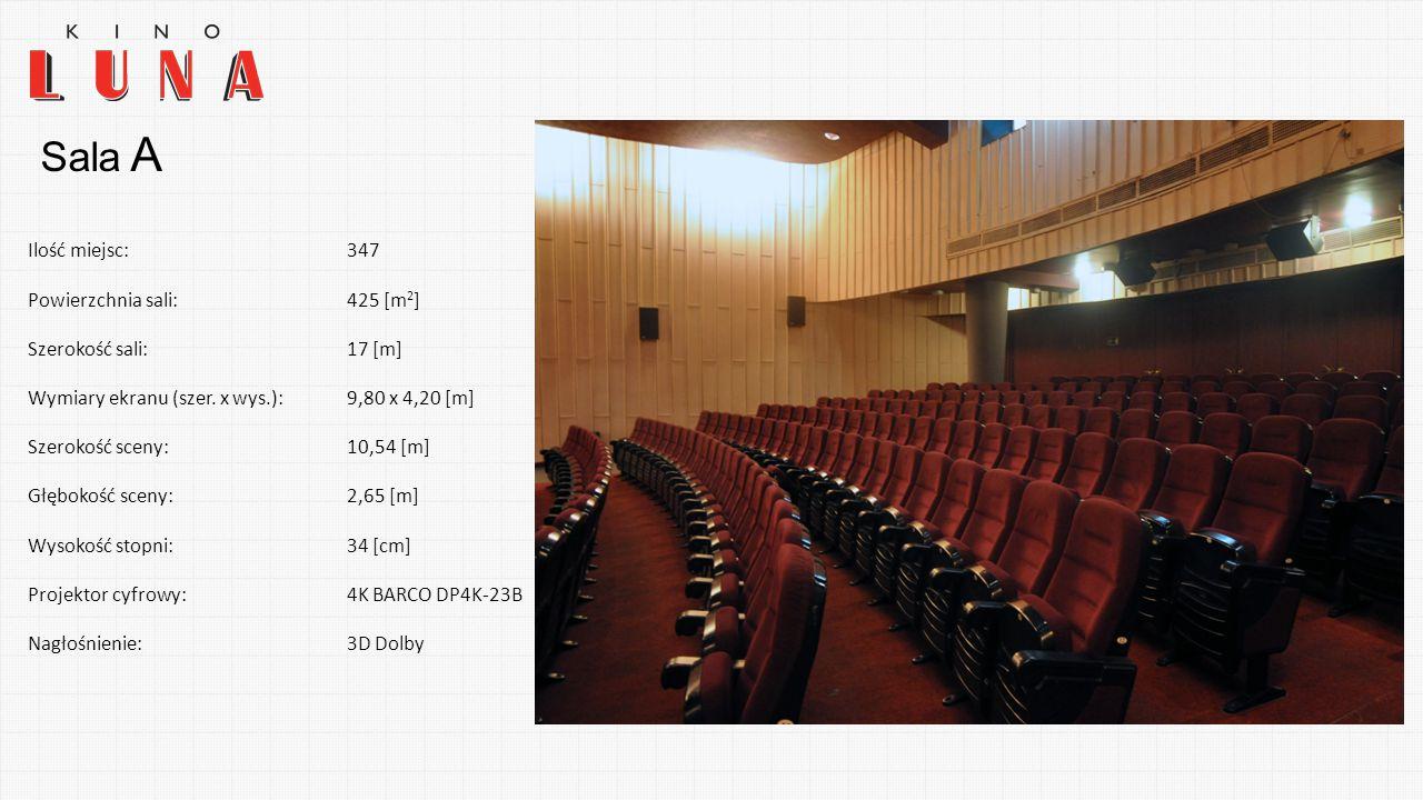 Ilość miejsc:347 Powierzchnia sali:425 [m 2 ] Szerokość sali:17 [m] Wymiary ekranu (szer. x wys.):9,80 x 4,20 [m] Szerokość sceny:10,54 [m] Głębokość