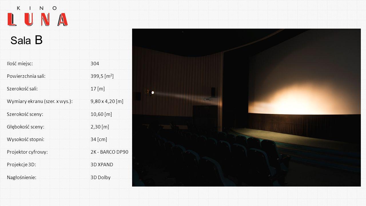 Sala B Ilość miejsc:304 Powierzchnia sali:399,5 [m 2 ] Szerokość sali:17 [m] Wymiary ekranu (szer. x wys.):9,80 x 4,20 [m] Szerokość sceny:10,60 [m] G