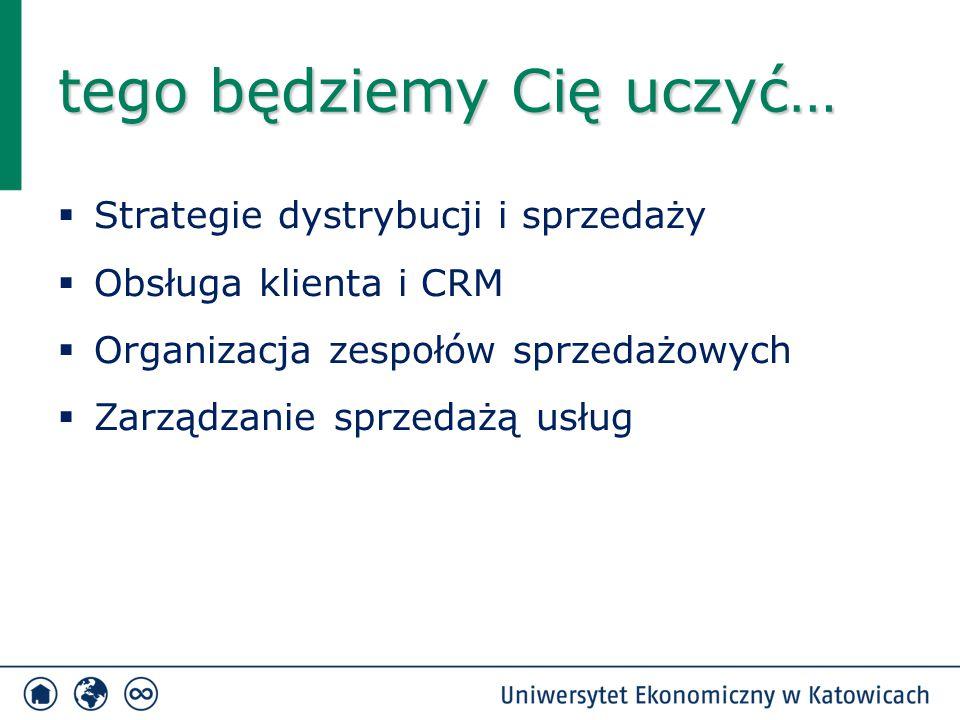  Strategie dystrybucji i sprzedaży  Obsługa klienta i CRM  Organizacja zespołów sprzedażowych  Zarządzanie sprzedażą usług tego będziemy Cię uczyć