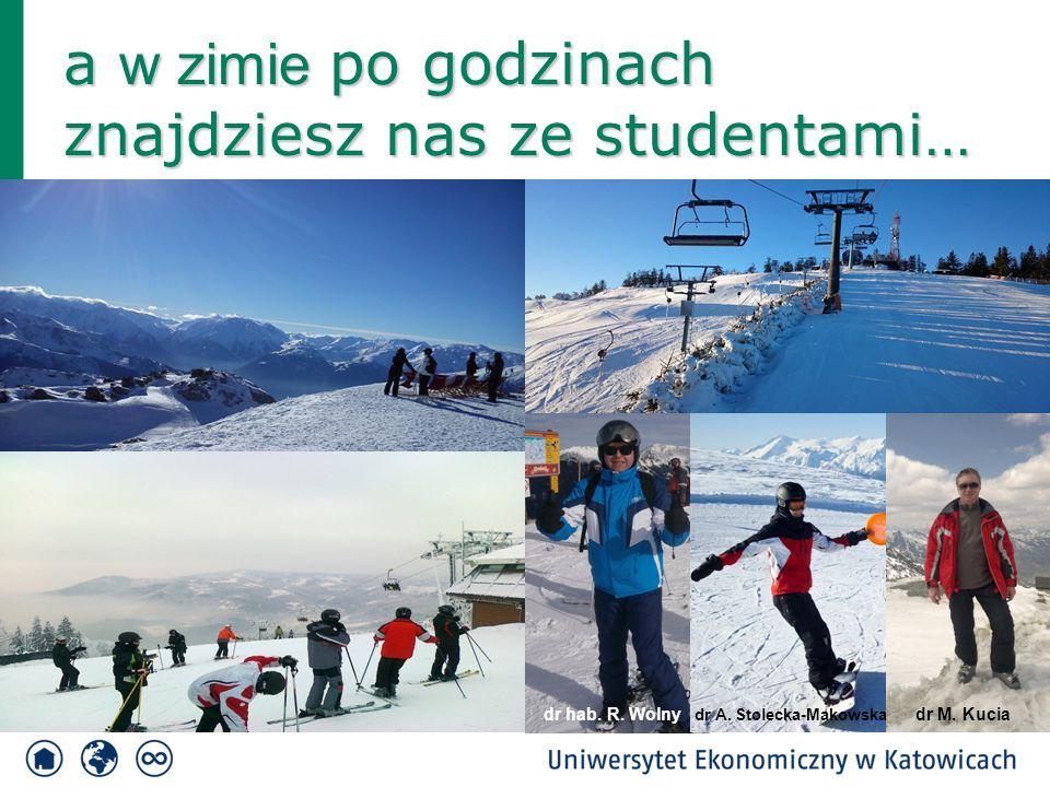 a w zimie po godzinach znajdziesz nas ze studentami… dr hab. R. Wolny dr M. Kucia dr A. Stolecka-Makowska