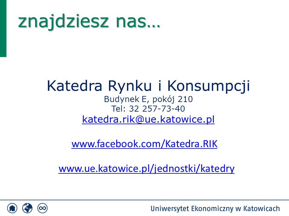 Katedra Rynku i Konsumpcji Budynek E, pokój 210 Tel: 32 257-73-40 katedra.rik@ue.katowice.pl znajdziesz nas… www.ue.katowice.pl/jednostki/katedry www.